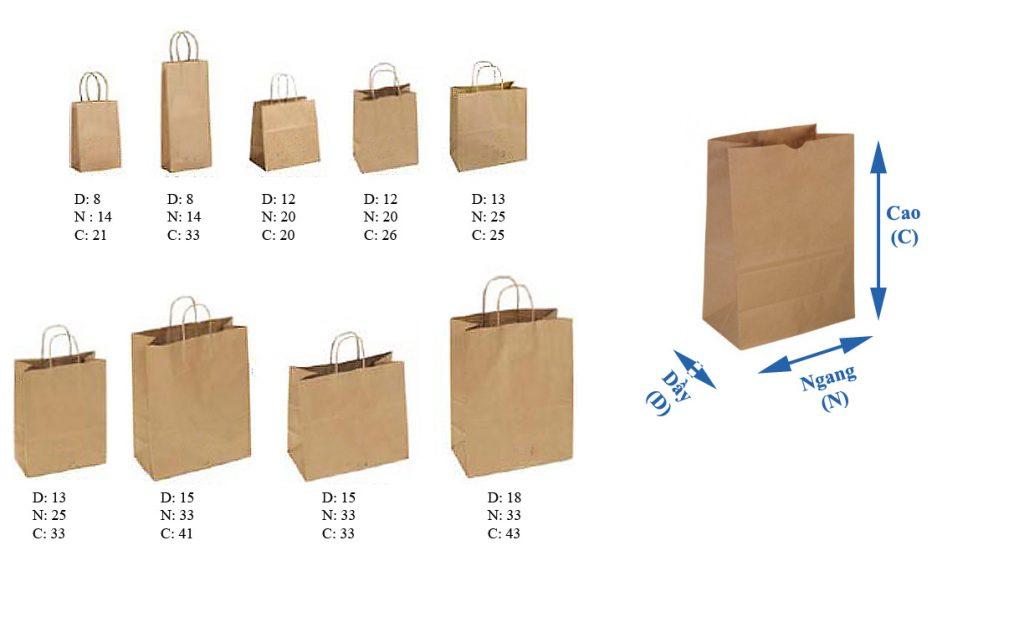 Kích thước phổ biến của túi giấy